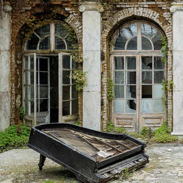 Kísértetiesek az elhagyott épületekben álló zongorák